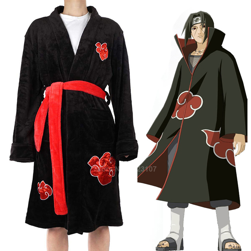 Winter Flannel Robes For Man Anime NARUTO Akatsuki Uchiha Itachi Ninja Cosplay Gown Soft Warm Bath Robe Kimono Loose Style