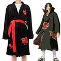 Зимние фланелевые халаты для мужчин аниме Наруто Акацуки Учиха Итачи ниндзя наряд для косплея мягкий теплый банный халат кимоно свободный ...