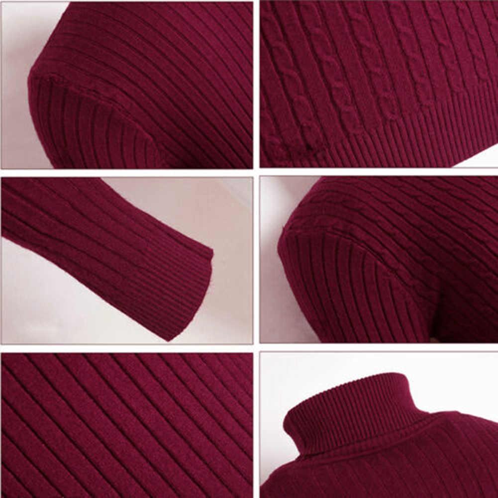 최신 남성 겨울 캐주얼 솔리드 컬러 거북이 긴 소매 트위스트 니트 슬림 스웨터 탑