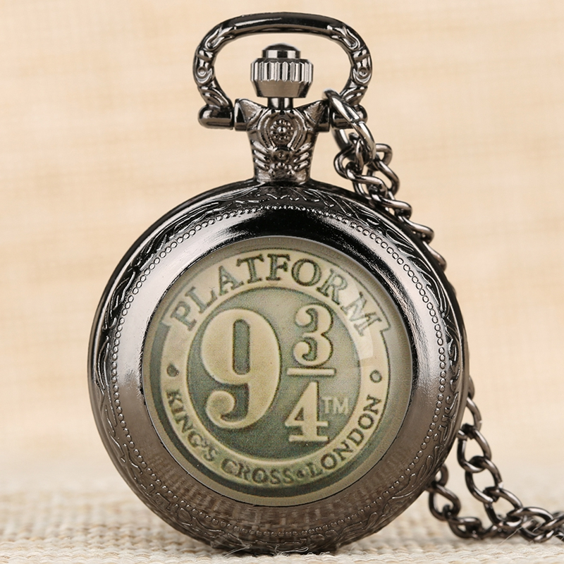 Black/Bronze/Gold/Silver Harry 9 3/4 Platform King's Cross Quartz Pocket Watch Necklace Chain FOB Watch Pendant Art Collectibles