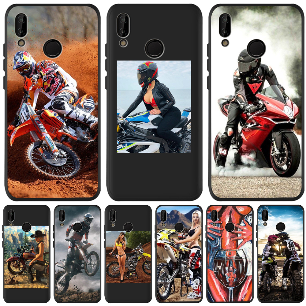 silicone soft tpu <font><b>Sexy</b></font> motorcycle girl For Huawei P8 P10 P20 P30 <font><b>Mate</b></font> 10 <font><b>20</b></font> Honor 8 8X 9X V20 30 10 Lite Pro PHONE Case Cover image