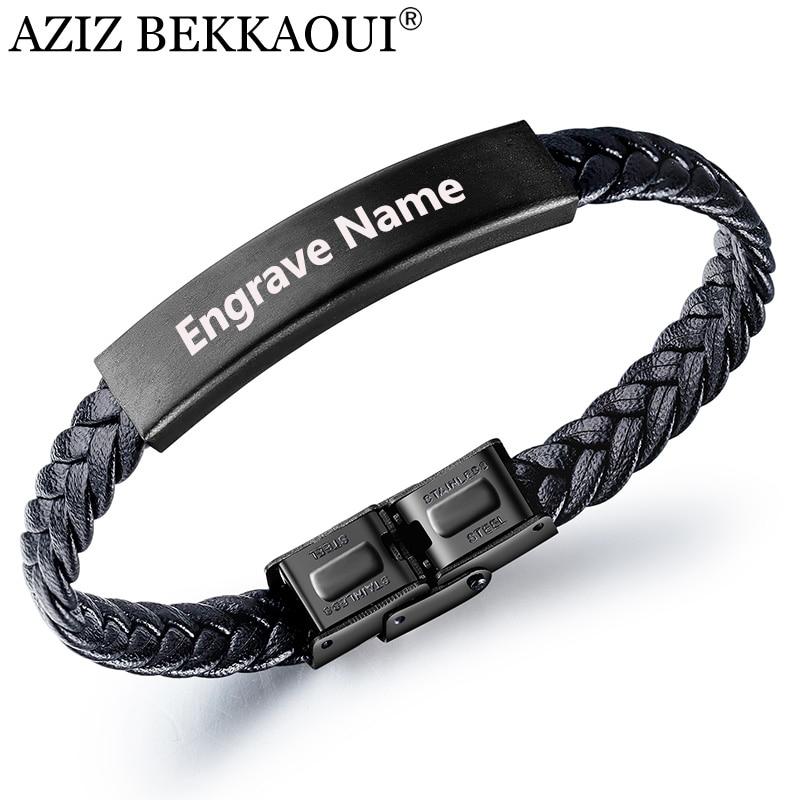 AZIZ BEKKAOUI Vintage Engrave Name Black Braid Woven Leather Bracelet DIY Letter Stainless Steel Bracelet Men Bangle Jewelry
