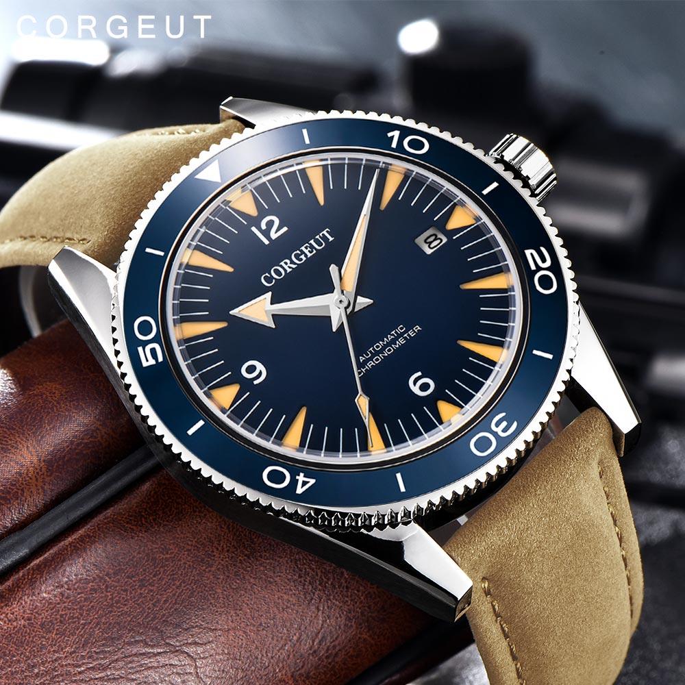 Corgeut Luxus Marke Seepferdchen Mechanische Uhr Männer Automatische Sport Uhr männer Design Leder Mechanische Handgelenk