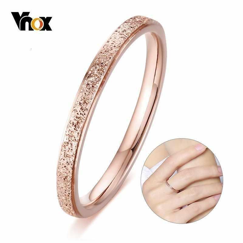 Vnox Temperament 2mm cienkie pierścienie dla kobiet dziewczyna 585 różowe złoto Tone ze stali nierdzewnej Chic kobieta pierścionek z ogonkiem Party Anel