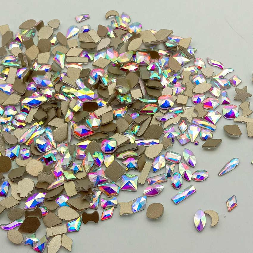คริสตัล 10pcs 30 รูปร่างเล็บตกแต่ง Rhinestones ทั้งหมดสำหรับเล็บเพชรหินอุปกรณ์เสริม AB 3D อัญมณี Charm