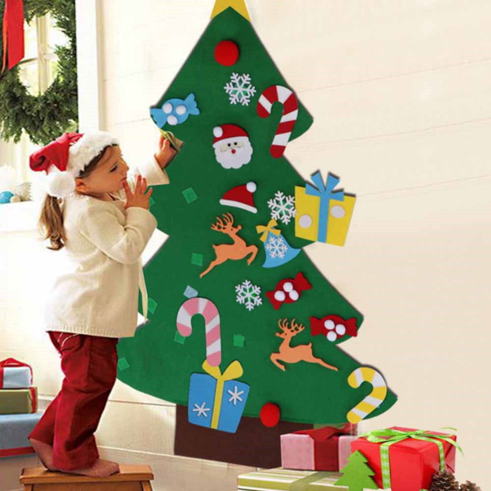 DIY Felt Christmas Tree Children's Toy New Year Gifts  Educational Toys Artificial Tree Wall Hanging Ornaments Puzzles For Kids