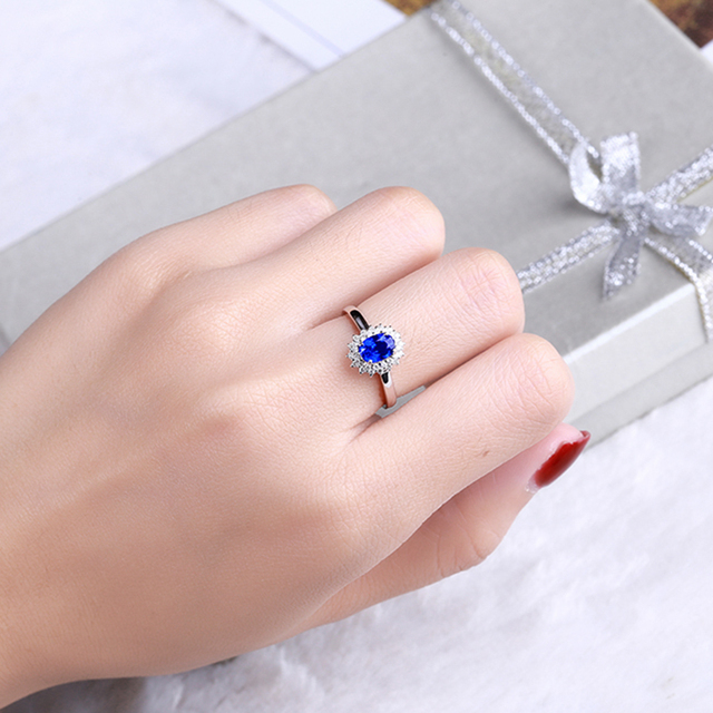 Ataullah Princess Diana William Kate Blue Sapphire Rings Silver 925 Ring Gemstone Engagement Fine Jewelry For Woman RW089 4
