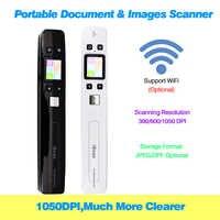 Mini documento iscan & imagens varredor a4 tamanho jpg/pdf formam wifi 1050 dpi de alta velocidade com display lcd bateria embutida