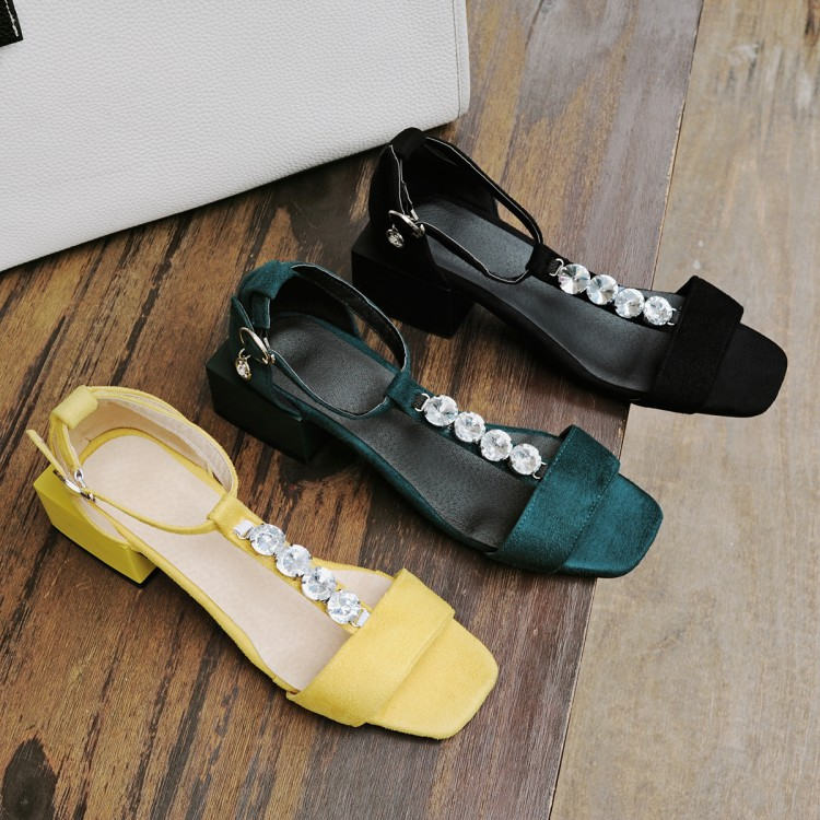 Kmeioo Dress Shoes Woman Ankle Strap Chunky Heels Rhinestone