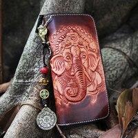 Women Money Clutch Retro Wallet Full Grain cow genuine leather Handmade Card Coin Purse Bag Holder Handy Passport Holder 2019