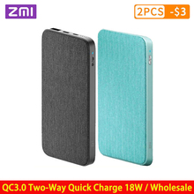 ZMI 10000mAh 보조베터리 QC3.0 PD Type C PD 양방향 빠른 충전 18W 외부 배터리 Mi 9 iPhone 휴대 전화 충전