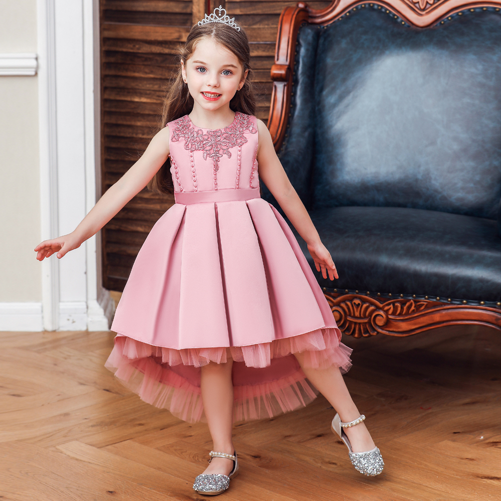 Vgiee kids dresses for girls Cotton Knee-Length Sleeveless Solid Princess Dress Baby Girl Toddler Clothes CC630