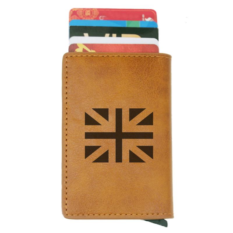 Classic United Kingdom Flag Design Credit Cards Men Wallets Rfid Vintage Brown Short Purse Leather Slim Wallets Small Wallet