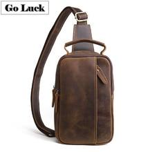 GO LUCK Brand Crazy Horse Genuine Leather Casual Sling Chest Pack Men Crossbody Shoulder Bag Mens Cowhide Messenger Bags