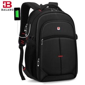Image 1 - BALANG erkek rahat sırt çantaları su geçirmez 15.6 17 inç dizüstü sırt çantası USB büyük kapasiteli okul sırt çantası sırt çantası erkek 2020 yeni
