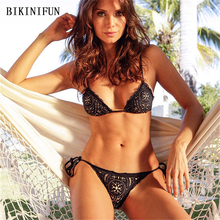 New Sexy Lace Floral Bikini Women Swimsuit Strappy Bandage Bathing Suit S-XL Girl Porous Swimwear Solid Color Micro Set
