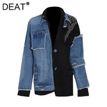 DEAT woman coat denim Frayed patchwork Diamonds loose full sleeve lapel collar streetwear style jacket 2021 new autumn 15HT502