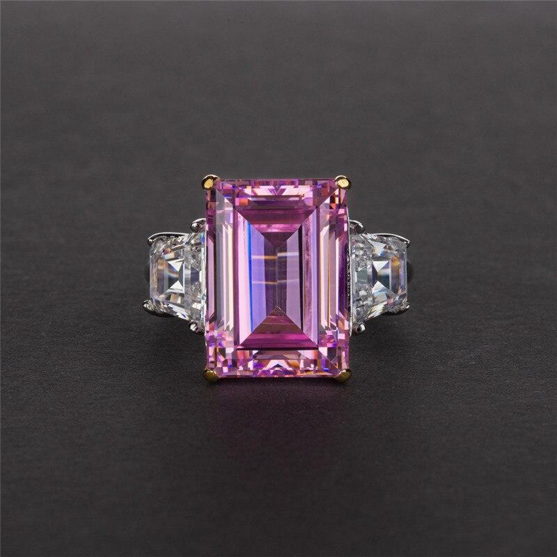 Choucong bijoux fins 100% vrais 925 bagues en argent Sterling pour femmes Emerld cut 6ct Sona Diamon cz bague de fiançailles de mariage - 4