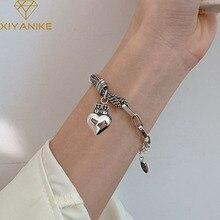 XIYANIKE 925 Sterling Silver Korean Love Bead Crown Peach Heart Bracelet Retro Female INS Unique Design Fshion Jewelry Gift