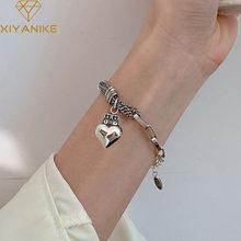 XIYANIKE-pulsera de plata de primera ley con forma de corazón de melocotón para mujer, brazalete, plata esterlina 925, estilo coreano