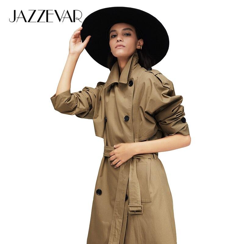 Jazzevar 2019 nova chegada outono trench coat feminino algodão lavado longo duplo breasted trench solto roupas de alta qualidade 9013