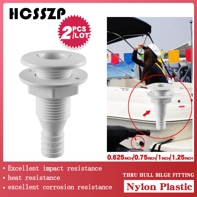 2 Pcs Plastic Thru Hull Bilge Fitting For Bilge Pump Drain Vent Aerator Hose Fitting Of Boat Marine Yacht Sail RV Camper Truck