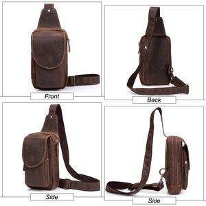 Image 3 - Yüksek kaliteli erkek omuz askılı çanta çılgın at deri göğüs paketi hakiki deri çapraz vücut Vintage erkekler fermuarlı askılı çanta