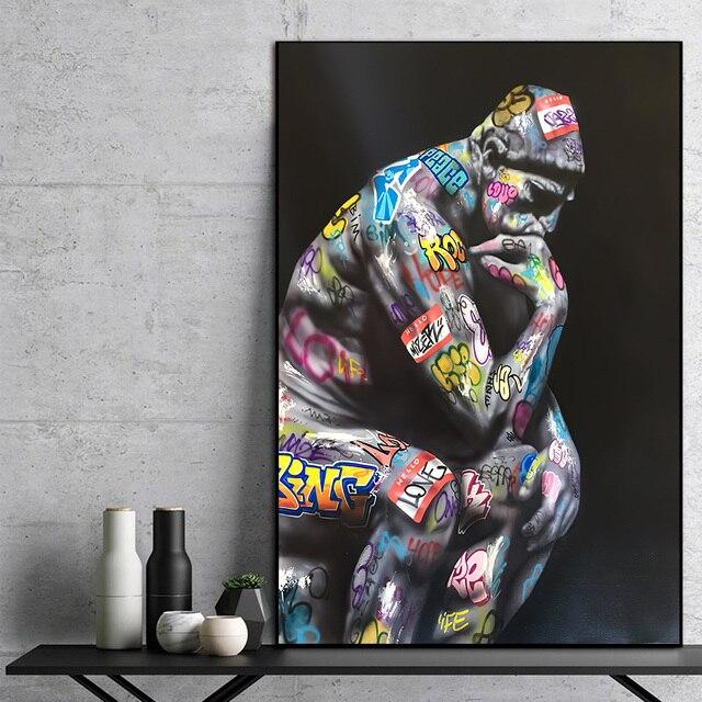 Граффити художественный мыслитель человек холст живопись плакаты