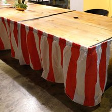 Wedding Birthday Party Red and White Stripes Knitted Table Skirt Decoration Supplies