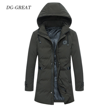 Cotton-padded Clothes Men's Long Hooded Thick Winter Down Coat Casual Warm Jacket Men Fashion Coat 2019 Brand New Menswear