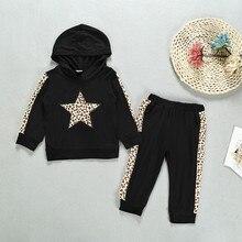 Комплекты одежды с длинными рукавами для маленьких девочек и мальчиков; Спортивный пуловер с капюшоном и леопардовым принтом со звездой; костюм из толстовки и брюк; Новинка года