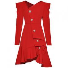 Red RoosaRosee дизайнерское модное женское платье с асимметричным воротником и длинным рукавом, кнопка в виде бриллианта, плиссированное короткое платье, элегантные вечерние платья, новинка