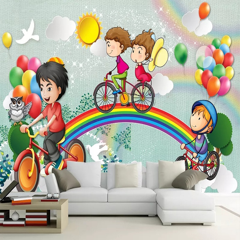 New Custom Large Mural 3D Wallpaper Fairy Tale World Rainbow Bike Children's Bedroom Mural TV Back Wall Decor Deep 5D Embossed