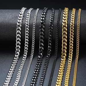 Vnox Basic Punk Stainless Steel Necklace for Men Women Curb Cuban Link Chain Chokers Vintage Black Gold Tone Solid Metal(China)