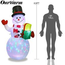 OurWarm 152CM Christmas Inflatable Santa Claus Night Light Figure Outdoor Garden Yard Party Decorations New Year 2019