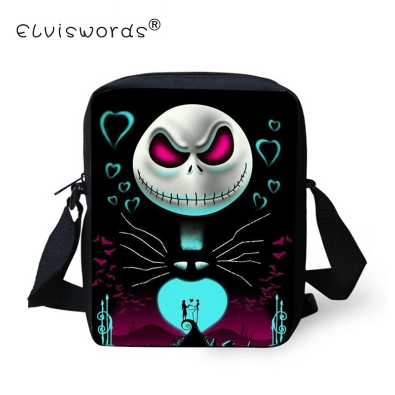 ELVISWORDS Mini Messenger Bags Nightmare Before Christmas Crossbody Bag Men Boys Kids Gift Bag  Jack Skellington Black Friday