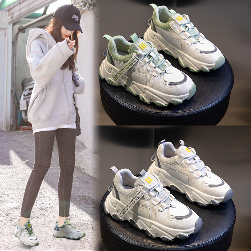 Leather Sports Casual Shoes Platform 2020 Spring Autumn New Wild High-Heeled  Breathable Daddy Shoes Tide Lace Up Sneakers Shoes