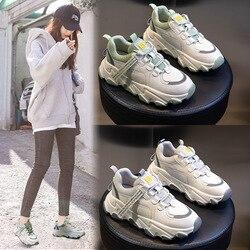 Skórzane sportowe obuwie platformy 2020 wiosenny i jesienny nowy dziki na wysokim obcasie oddychające daddy Shoes Tide sznurowane buty sportowe buty