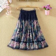 2020 Vintage Skirt Women Saia Casual Chiffon Lace Pleated Skirt Elegant Knee-Length Floral Print High Waist Women Skirt Faldas