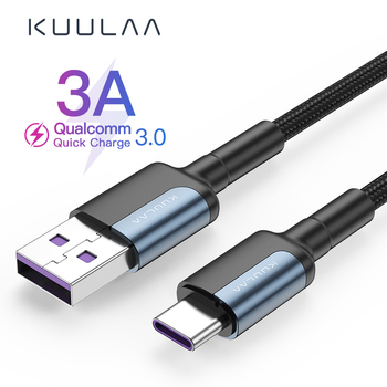 KUULAA 3A Type-C Charge Cable Date Cable Universal For Huawei Samsung Xiaomi Pro/Air Notebook Zinc Alloy Fast Charging Head image
