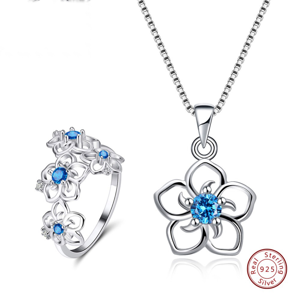 Effie Queen 925 Sterling Silver Necklaces Rings Jewelry Sets For Women AAA Zircon Flower Shape Party Fine Jewelry Sets TSS24