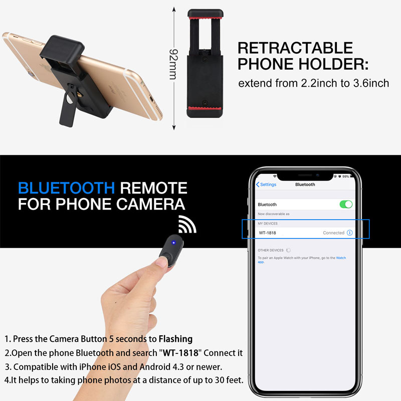 Cell Phone Tripod 55inch Selfie Stick Tripode with Bluetooth Remote Panorama Pan Head Travel Portable Tripod Stand for Mobile 5