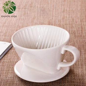 Duolvqi wielokrotnego użytku filtr do kawy ing Cup ręcznie warzony filtr do kawy filtr ceramiczny filtr do kawy lejek z filtrem trwałe akcesoria do kawy tanie i dobre opinie Porcelany Wielokrotnego użytku Filtry KG25QAA
