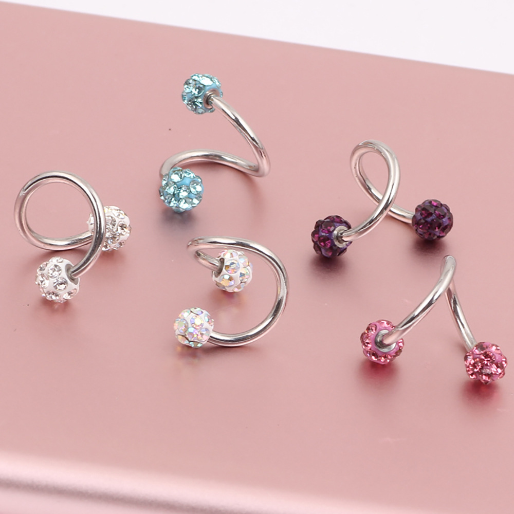 1 PC Crystal Double Balls Twisted Helix Cartilage Earring Piercing Body Jewelry Gauge 18G S Ear Labret Ring Surgical Steel