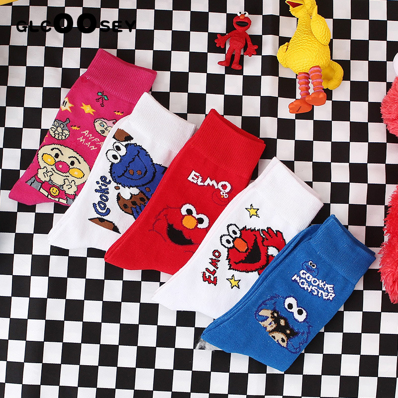 5 Pairs Women Cartoon Chic Movement Skateboard Cotton Socks Sesame Street Long Socks Art Female Character Cute Hipster Fashion