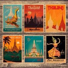 Visita bangkok tailândia viagens quadros em tela fotos da parede do vintage kraft cartazes revestidos adesivos de parede decoração para casa presente