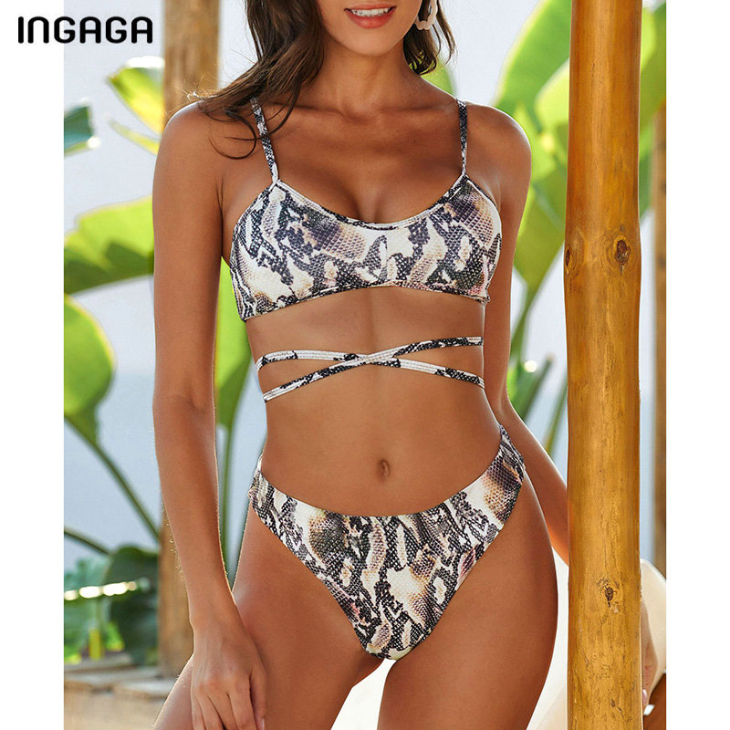 INGAGA Push Up Bikinis Mujer Cross String Swimwear Women Thong High Cut Swimsuit Sexy Snake Printing Biquini 2020 New Beachwear