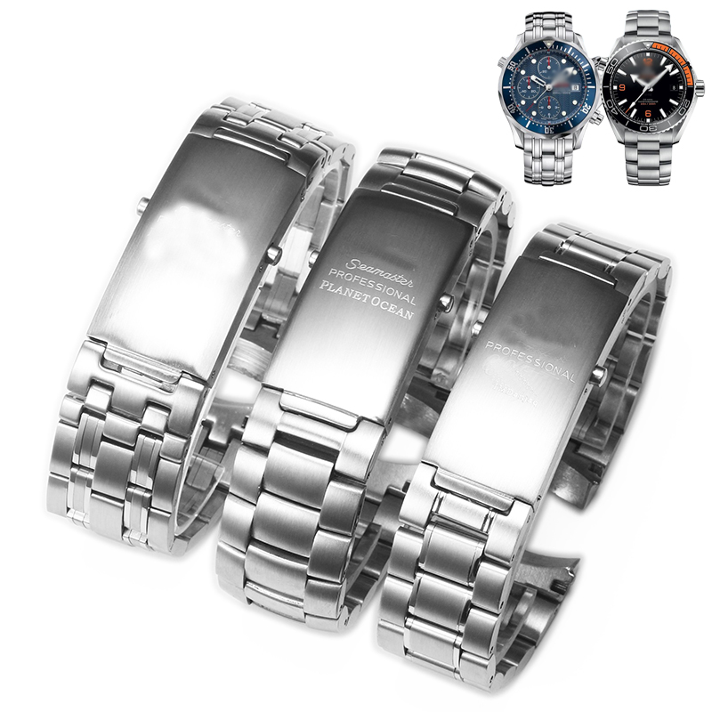 Watchbands Bracelet For Omega PLANET OCEAN 007 SEAMASTER 600 Metal Strap Watch Accessories Men Stainless Steel Watch Band Chain