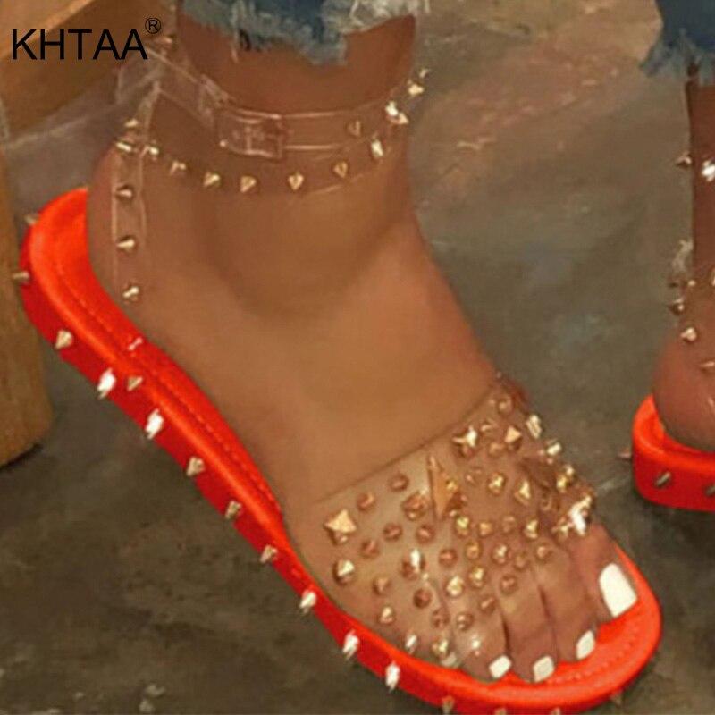 Women Rivet Sandals Ankle Strap Line Style Buckle Ladies Transparent Bling Metal Flats Summer Shoes Cool Girl Women's Plus Size