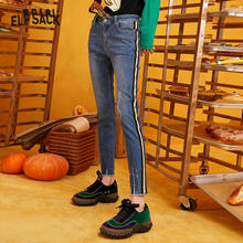 ELFSACK Blue Solid Washed Straight Casual Pencil Jeans Woman 2019 Winter Plaid Patchwork Skinny Office Ladies Basic Daily Pants